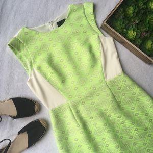 J Crew Collection neon citrus jacquard tweed dress